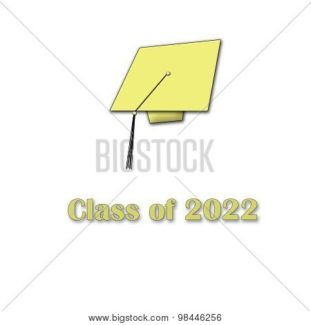 Class of 2022 Yellow on White Single Large
