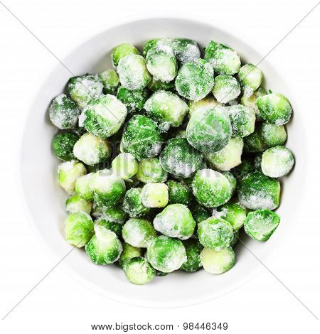 Brussels Sprouts Cabbage Isolated On White Background.