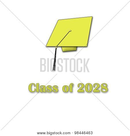 Class of 2028 Yellow on White Single Large