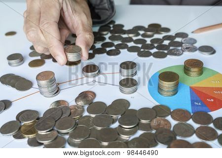 Hand Adding More Money Chart For Investment Plan