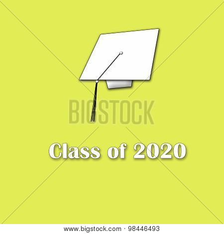 Class of 2020 White on Yellow Single Large