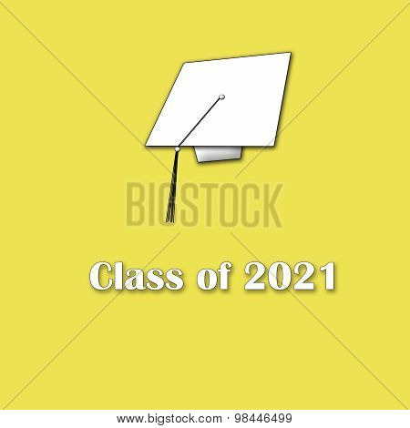 Class of 2021 White on Yellow Single Large
