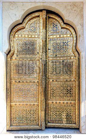 Golden Doors Of Hawa Mahal In Jaipur, Rajasthan, India
