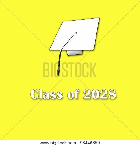 Class of 2028 White on Yellow Single Large
