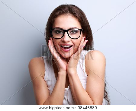 Surprised Fun Young Woman In Eye Glasses With Open Mouth
