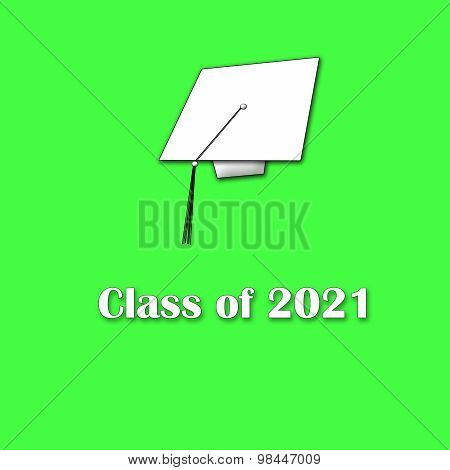 Class of 2021 White on Green Single Large