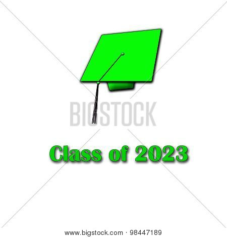 Class of 2023 Green on White Large Single