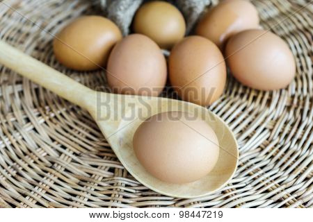 Eggs And Egg Lay On Wooden Ladle