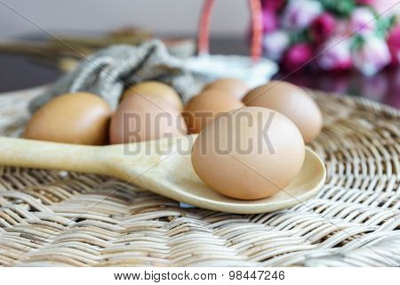 Closed Up Egg Lay On Wooden Ladle