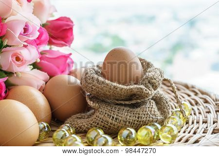 Chicken Eggs In Sackcloth And Rose