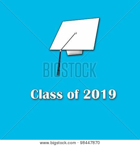 Class of 2019 White on Blue Single Large