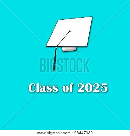 Class of 2025 White on Blue Single Large