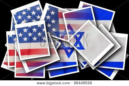 Broken Usa And Israel Flags