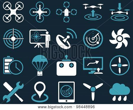 Air drone and quadcopter tool icons