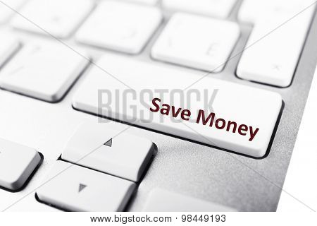 Close up of Save money keyboard button