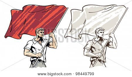 Man with a flag in his hands.