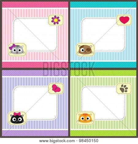 Set of cards with cats
