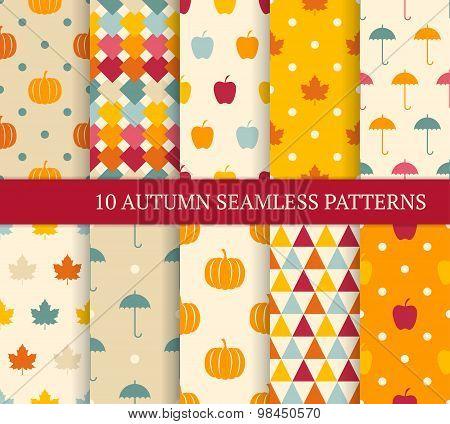 Ten Autumn Different Seamless Patterns.