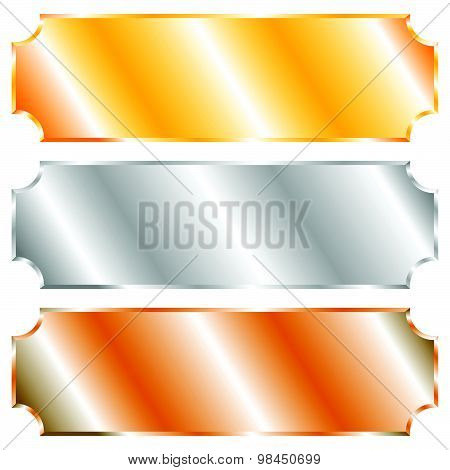 Plaque, Plaquettes With Blank Space. Editable Vector.