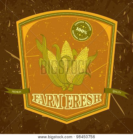organic farm vintage label with corn on the grunge background texture. Retro hand drawn vector illus