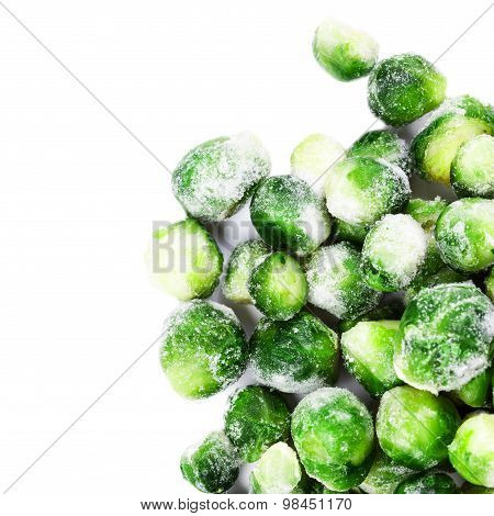 Frozen Brussels Sprouts Cabbage Isolated On White Background Top