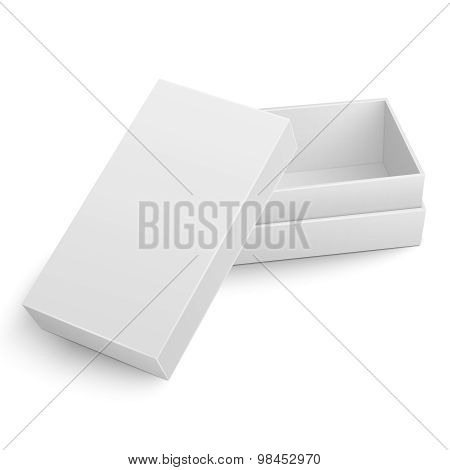 Template of white cardboard box with opened lid.