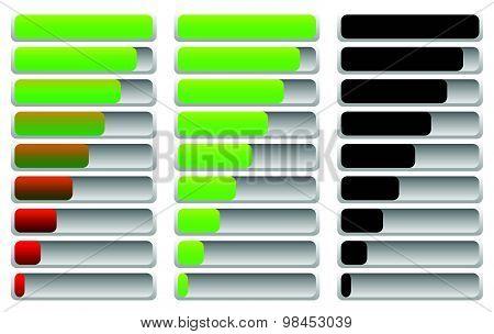 Horizontal Progress Indicator, Progress Bar Set. Vector.