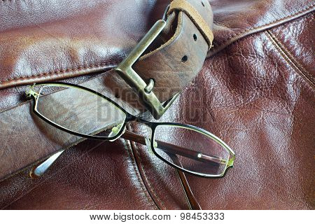 Modern Glasses On Leather Background