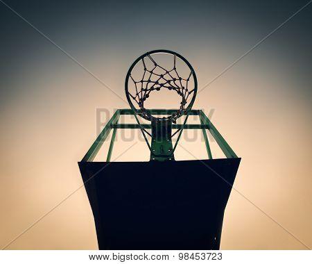 Old Basketball Basket Outdoor, Vintage Look