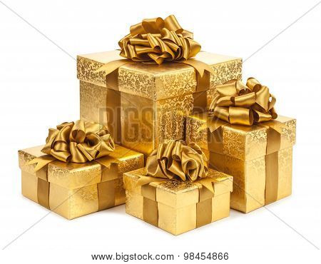 Gift Boxes Of Gold Color Isolated On White Background