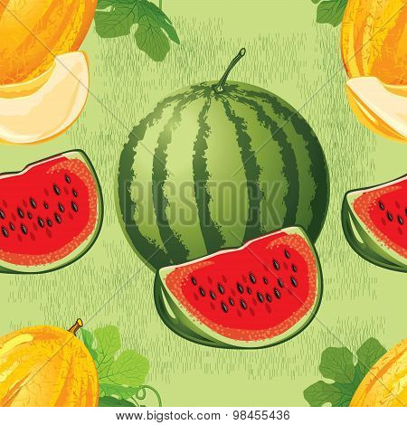 seamless pattern of melon and watermelon