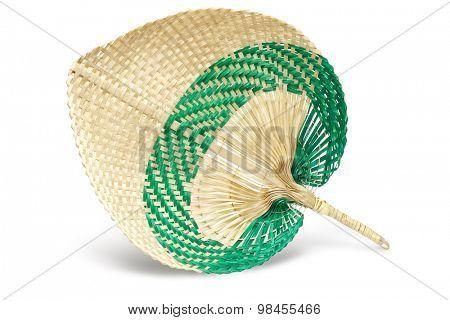 Hand Held Straw Fan on White Background