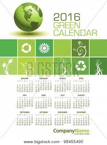 An Elegant 2016 Green Calendar