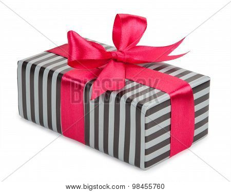 Striped Gift Box With A Bow And Ribbon
