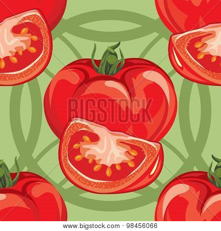 seamless pattern of ripe red tomato