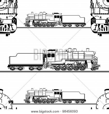 seamless pattern in the form of a line drawing of a steam locomotive