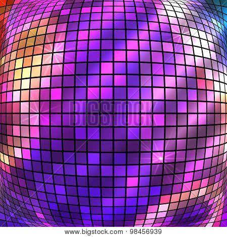 Purple Bright Glowing Mosaic Squares Convex Ball