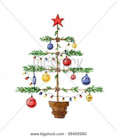 Illustration Christmas trees decorated. Watercolor primitive pastiche