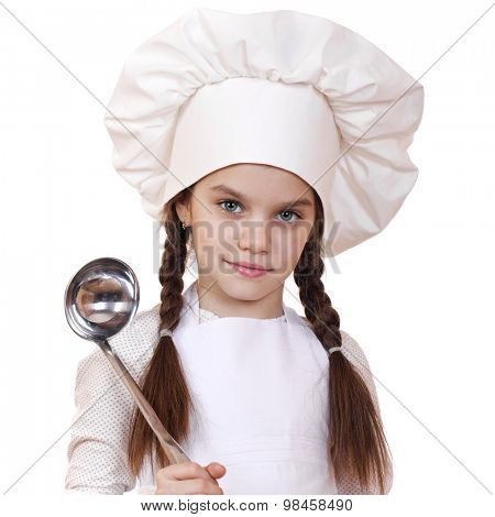Shot of a little kitchen little girl in a white uniform. Isolated over white background