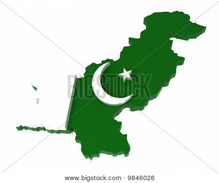 Pakistan, Map with Flag, Clipping Path Included