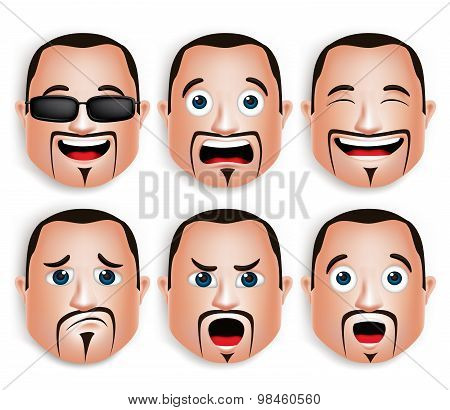 Set of 3D Realistic Big Fat Man Head with Different Facial Expressions