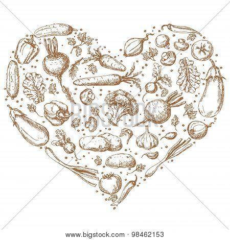 Vegetables Set In Shape Of Heart