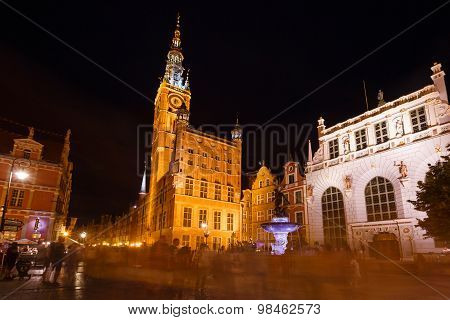 City Hall Of Gdansk During The Holiday Fair