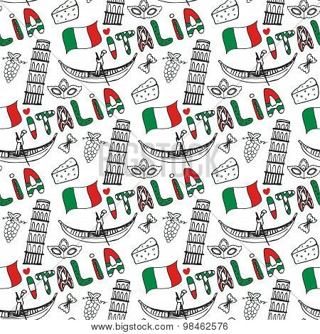 Italy Hand Drawn Seamless Pattern  With Flag. Vector Travel Background. Italia Lettering In Italian