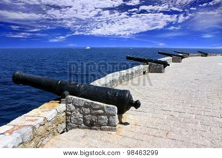 Row Of Old Cannons Aiming At The Sea On The Fortress, Hydra Island, Greece