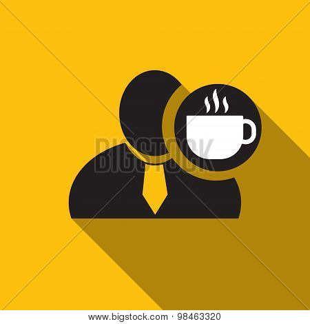 Coffee Black Man Silhouette Icon On The Yellow Background, Long Shadow Flat Design Icon For Forums O