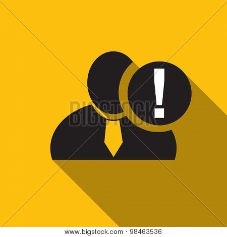 Exclamation Black Man Silhouette Icon On The Yellow Background, Long Shadow Flat Design Icon For For