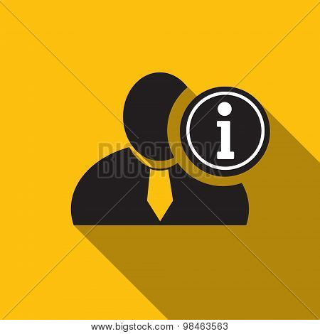 Info Black Man Silhouette Icon On The Yellow Background, Long Shadow Flat Design Icon For Forums Or