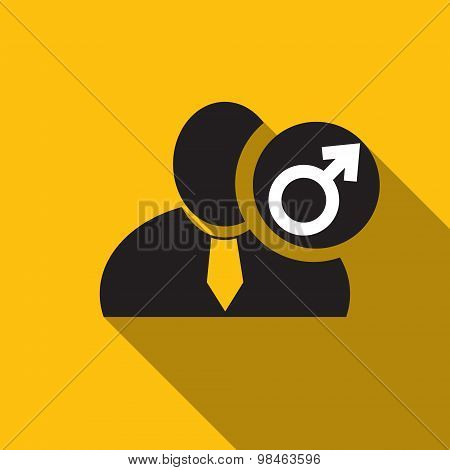 Male Gender Black Man Silhouette Icon On The Yellow Background, Long Shadow Flat Design Icon For For