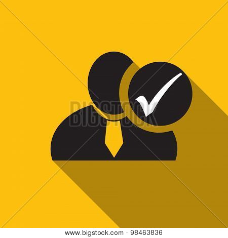 Check Mark Black Man Silhouette Icon On The Yellow Background, Long Shadow Flat Design Icon For Foru